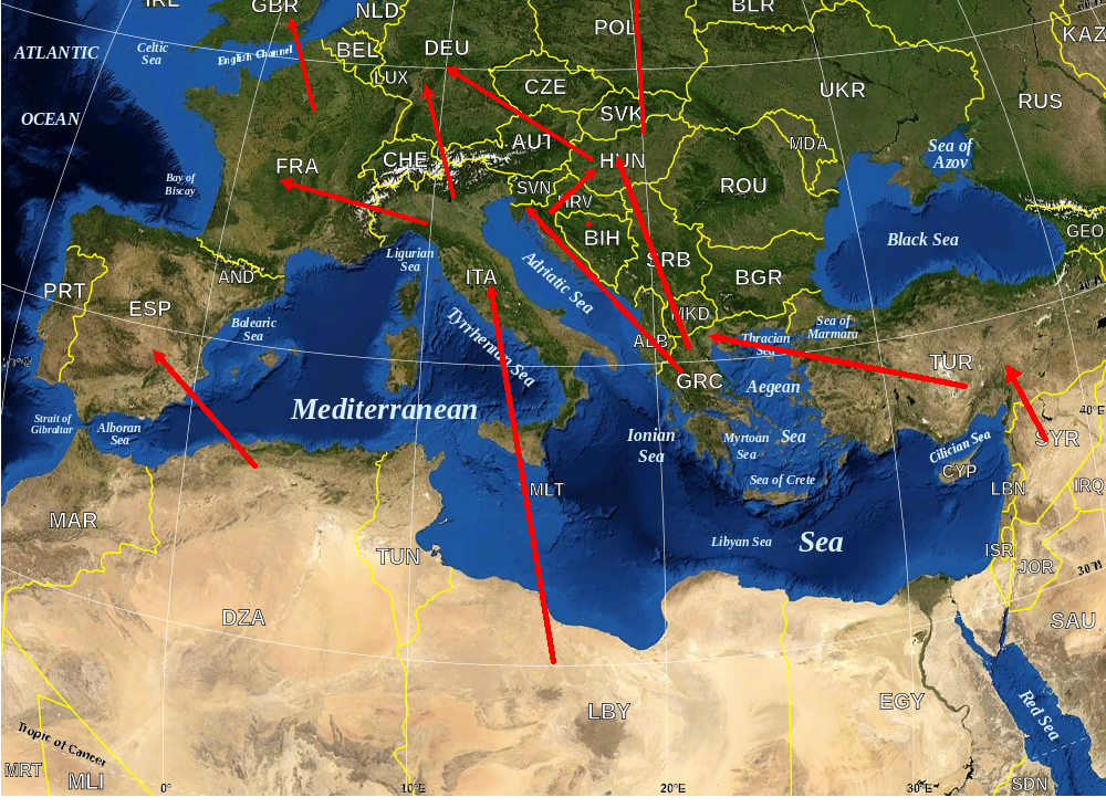 Refugee crisis into Europe migration map: main routes across the Mediterranean Sea